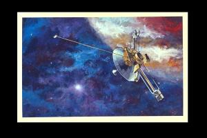 Painting of one of the Voyager probes passing Jupiter. Currently. Voyager I is the farthest man made object in the solar system & it's moving at about 39,000mph.
