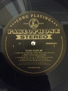 The Beatles' first Parlaphone LP label. Note that this is the first & only Beatles record with songwriting credits are given as: McCartney/Lennon