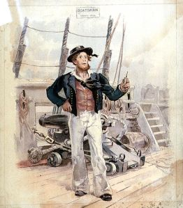 A lithograph of a boatswain c. 1820. (Image in Public Domain)